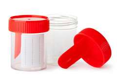 Two medical containers for biomaterial royalty free stock images