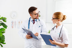 Two medical worker friendly doctor and nurse at hospital Stock Photo