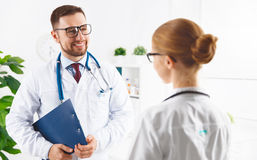 Two medical worker friendly doctor and nurse at hospital Royalty Free Stock Photography