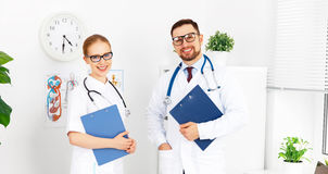 Two medical worker friendly doctor and nurse at hospital Royalty Free Stock Images