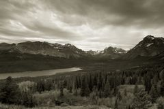Two Medicine Lake, Glacier National Park. Black and White photo of Two Medicine Lake at Glacier National Park, Montana stock images