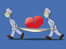 Two medics care the crack heart Stock Photos