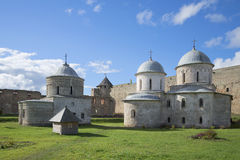 Two medieval church in the Ivangorod fortress Stock Photos