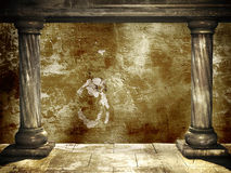 Two medieval columns and stucco wall Stock Photo