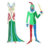 Two medieval costumes. Fictional outfits inspired by medieval costumes, hand drawn cartoon illustrations isolated on white Royalty Free Stock Photography