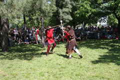 Two medieval fighters. Demonstration of medieval fighting  at Belgrade Knight Fest held on 23 April in Belgrade,Serbia Stock Images