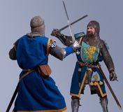 Two medieval knights fighting each other in armor. Two medieval knights fighting Stock Image