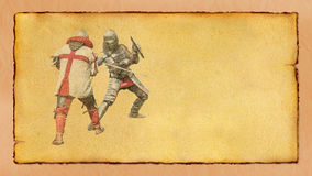 Two medieval knights fighting- retro postcard. Two medieval knights fighting - retro postcard on vintage horizontal paper background Stock Images