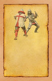 Two medieval knights fighting- retro postcard. Two medieval knights fighting - retro postcard on vintage poster paper background Royalty Free Stock Images