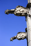 Two medieval stone gargoyles on a wall Royalty Free Stock Photo