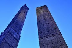 The two medieval towers of the city Asinelli, the highest and Garisenda stock photo