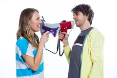 Two megaphones are better than one Stock Photos