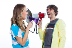 Two megaphones are better than one Royalty Free Stock Photography