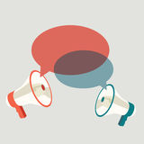 Two megaphones speech templates for text Royalty Free Stock Image