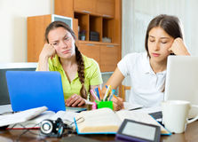 Two melancholy female students Stock Photos