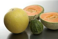 Two Melon fruits and pumpkin Royalty Free Stock Photo