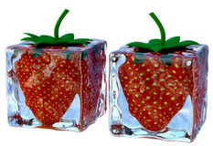 Two melting ice cubes with sweet ripe strawberries Royalty Free Stock Image