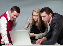 Two Men And Woman Working Royalty Free Stock Images