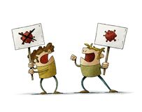 Free Two Men Are Arguing About The Existence Of COVID-19, They Carry Banners With The Image Of The Coronavirus. Isolated Stock Photo - 195522820