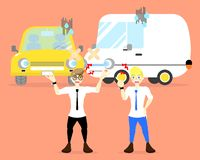 Two men argument with crash car, accident concept stock illustration