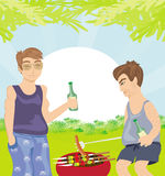 Two men barbecuing - funny barbecue Party Invitation Royalty Free Stock Photos