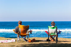 Two Men Beach Chairs Ocean Royalty Free Stock Photo