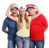Two men and the beautiful young woman the blonde. The beautiful young woman the blonde embraces two men Royalty Free Stock Photography