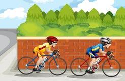 Two men biking. Illustration of the two men biking Royalty Free Stock Images