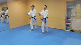 Two men with black belt practicing Aikido in gym. Two men with black belt practicing Aikido in the gym stock video