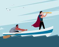 Two men on a boat: one looks through a monocle, another man rowing royalty free illustration