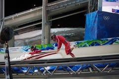 Two men bobsleigh stock photo