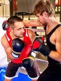 Two  men boxer wearing gloves boxing Stock Photos