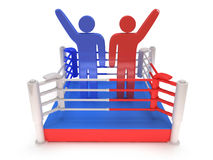 Two men on boxing ring. High resolution 3d render. Sport, competition, match, arena, praise concept Stock Photos