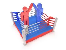 Two men on boxing ring. High resolution 3d render. Royalty Free Stock Photography