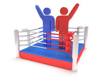 Two men on boxing ring. High resolution 3d render. Sport, competition, match, arena, praise concept Stock Photo