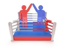 Two men on boxing ring. High resolution 3d render. Sport, competition, match, arena, praise concept Stock Image