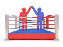 Two men on boxing ring. High resolution 3d render. Sport, competition, match, arena, praise concept Stock Images