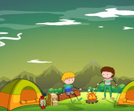Two men camping out on the mountain Stock Images