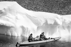 Two men in a canoe. Among icebergs in Antarctica royalty free stock photo