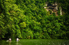 Two Men in Canoes on the Sweet River. Two local men rowing down the Sweet River (Rio Dulce) in canoes near Livingston, Guatemala.  Steep canyon walls hung with Stock Photo