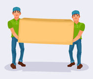 Two men carries a cardboard box Royalty Free Stock Photos