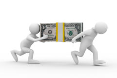 Two men carry dollars Royalty Free Stock Photo