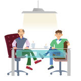 Two men in casual clothes sitting at office desk with a cup of coffee. Job interview or business meetings. Vector stock illustration
