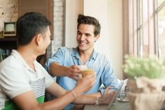 Two Men Cheers Toast Drink Friends Guys Happy. Smile Sitting at Cafe Natural Light royalty free stock image