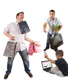 Two men and child shopping online