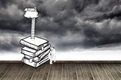 Two men climbing books over stormy sky Stock Images