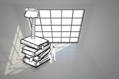 Two men climbing books in white room Royalty Free Stock Image