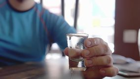 Two men clink with glasses of vodka in cafe. Slow motion stock video