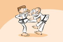 Two men in combat fighting karate Royalty Free Stock Photos