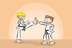 Two men in combat fighting karate Royalty Free Stock Photo